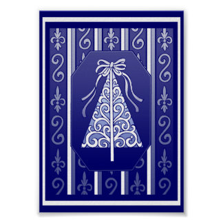 Dark Blue And White Swirls Stripes Christmas Tree Poster