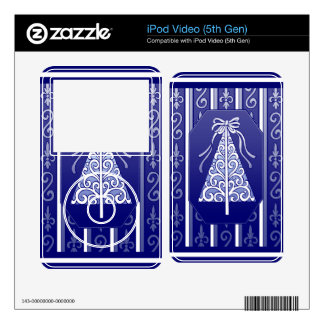 Dark Blue And White Swirls Stripes Christmas Tree Skins For The iPod Video