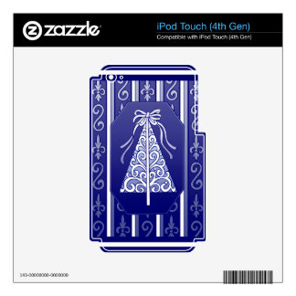 Dark Blue And White Swirls Stripes Christmas Tree iPod Touch 4G Skin