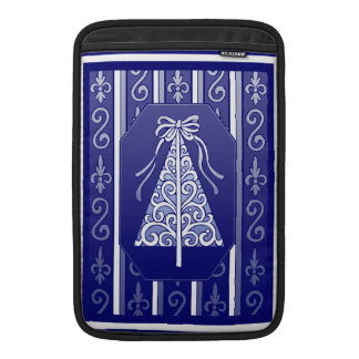 Dark Blue And White Swirls Stripes Christmas Tree Sleeves For MacBook Air
