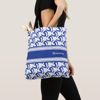 Dark Blue and White Volleyball | Personalize Tote Bag