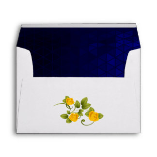 Dark Blue and Yellow Marigold Rose Wedding Envelope