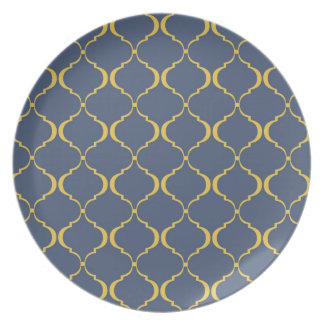 Dark Blue and Yellow Moroccan Pattern Party Plate