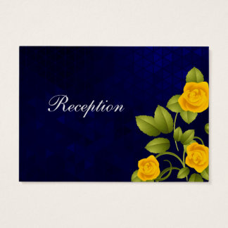 Dark Blue and Yellow Rose Wedding Business Card