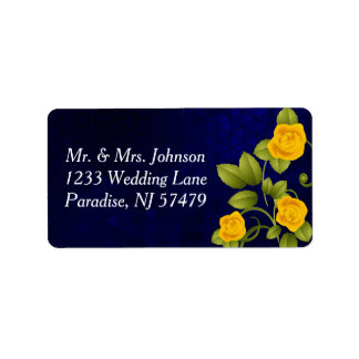 Dark Blue and Yellow Rose Wedding Label