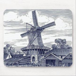 Dark Blue Antique Delft Blue Dutch Windmill Mouse Pad
