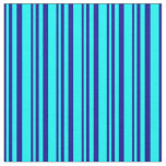 [ Thumbnail: Dark Blue & Aqua Colored Lined Pattern Fabric ]