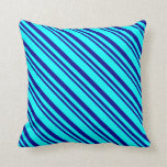 [ Thumbnail: Dark Blue & Aqua Colored Lined Pattern Pillow ]