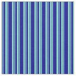 [ Thumbnail: Dark Blue & Aquamarine Striped/Lined Pattern Fabric ]