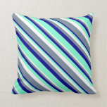 [ Thumbnail: Dark Blue, Aquamarine, White & Light Slate Gray Throw Pillow ]