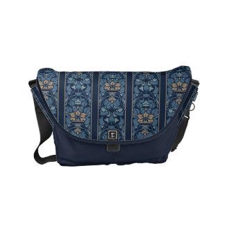 Dark blue art nouveau floral pattern small messenger bag