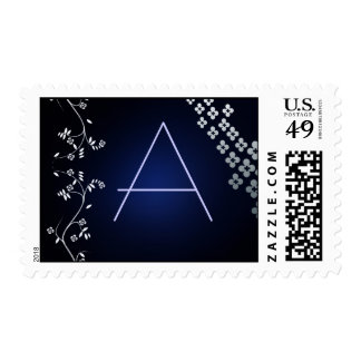 Dark blue Asian theme custom postage