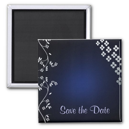 Dark blue asian themed save the date 2 inch square magnet