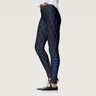 Dark Blue Awareness Ribbon Art Custom Leggings