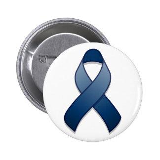 Dark Blue Awareness Ribbon Button