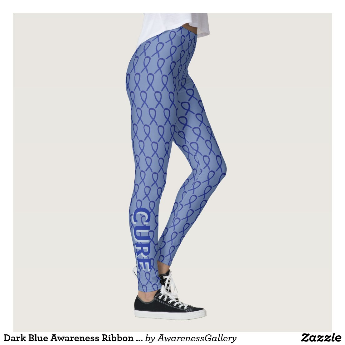 Dark Blue Awareness Ribbon Custom Art Leggings