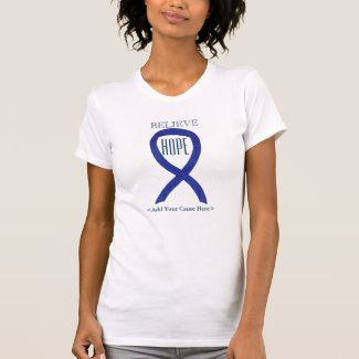 Dark Blue Awareness Ribbon Custom Art T-Shirts