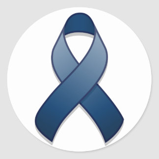 Dark Blue Awareness Ribbon Round Sticker