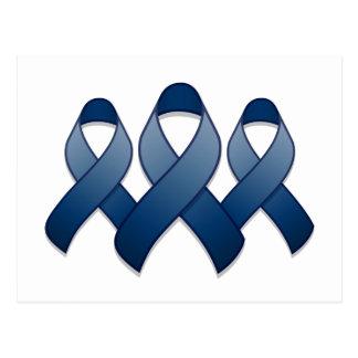 Dark Blue Awareness Ribbon Trio Postcard