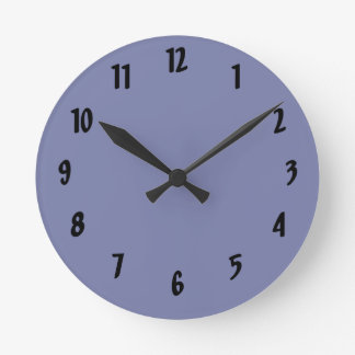 Dark Blue Background Round Clock