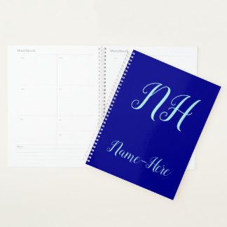 Dark Blue Background + Turquoise Script-Like Name Planner