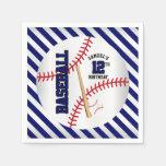 Dark Blue Baseball Birthday Design | Personalize Paper Napkin