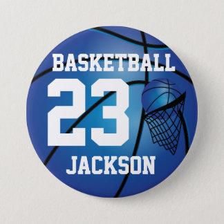 Dark Blue Basketball and Hoop | DIY Text Pinback Button