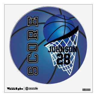 Dark Blue Basketball Score Wall Decal