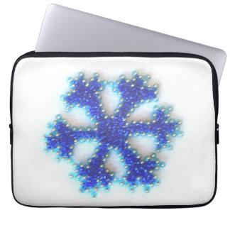 Dark Blue Bead Snowflake Computer Sleeve