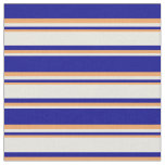 [ Thumbnail: Dark Blue, Beige, and Brown Striped/Lined Pattern Fabric ]