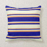 [ Thumbnail: Dark Blue, Beige, and Brown Striped/Lined Pattern Throw Pillow ]