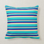 [ Thumbnail: Dark Blue, Beige, and Dark Turquoise Colored Throw Pillow ]