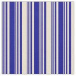 [ Thumbnail: Dark Blue & Beige Lined Pattern Fabric ]