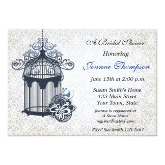 Dark Blue Birdcage, Damask Invitation