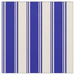[ Thumbnail: Dark Blue & Bisque Colored Lines Fabric ]