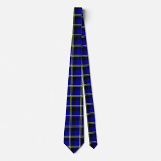 Dark Blue, Black and Yellow Plaid Neck Tie