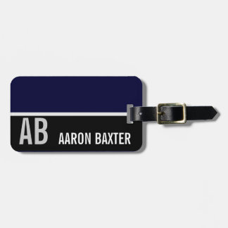 Dark Blue & Black Monogrammed Custom Luggage Tag