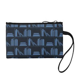Dark Blue Books on Shelf. Change Purses