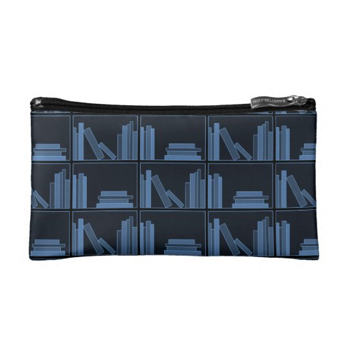 Dark Blue Books on Shelf. Cosmetic Bags