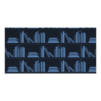 Dark Blue Books on Shelf. Custom Photo Card