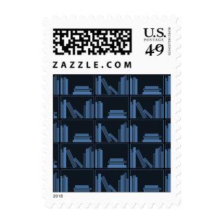 Dark Blue Books on Shelf. Postage