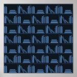 Dark Blue Books on Shelf. Posters