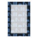Dark Blue Books on Shelf. Stationery Design