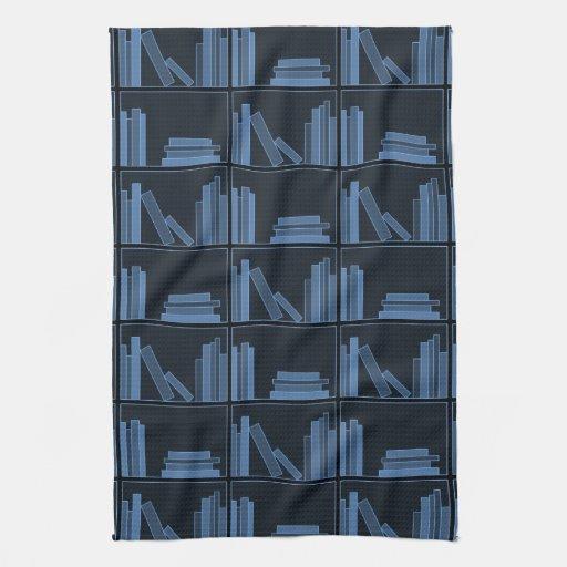 Dark Blue Books on Shelf. Towel