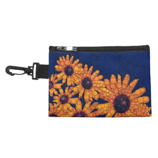 Dark Blue Bright Orange Sunflowers Accessory Bag
