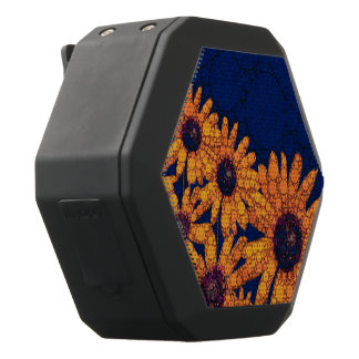 Dark Blue Bright Orange Sunflowers Black Bluetooth Speaker