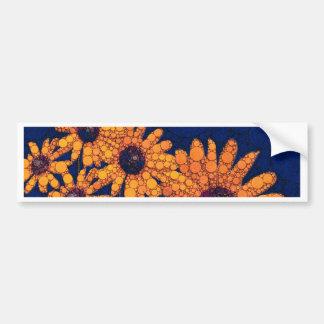 Dark Blue Bright Orange Sunflowers Bumper Sticker