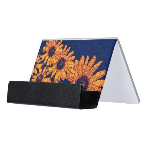 Dark blue bright orange sunflowers desk business card for Orange business card holder