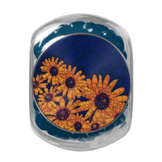 Dark Blue Bright Orange Sunflowers Glass Jars