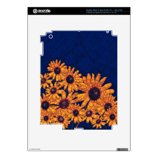 Dark Blue Bright Orange Sunflowers iPad 3 Skin